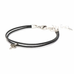 Novo Smooth Black Leather Adjustable Double Strand Bracelet