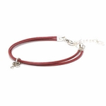 Novo Smooth Crimson Leather Adjustable Double Strand Bracelet