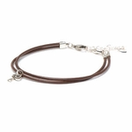 Novo Smooth Mocha Leather Adjustable Double Strand Bracelet