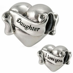 Ohm Silver I Love You Daughter Heart Bead