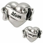 Ohm Silver I Love You Mom Heart Bead