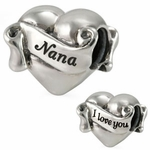 Ohm Silver I Love You Nana Heart Bead