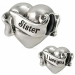 Ohm Silver I Love You Sister Heart Bead