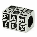 Ohm Silver Love Family Block Bead