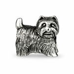 Ohm Silver White Terrier Dog Bead