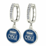 Old Dominion Monarchs Enamel Large CZ Hoop Earrings
