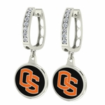 Oregon State Beavers Enamel Large CZ Hoop Earrings