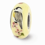 Painted Glass Chickadees on Cherry Blossoms Bead