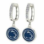 Penn State Nittany Lions Enamel Large CZ Hoop Earrings
