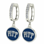 Pittsburgh PITT Panthers Enamel Large CZ Hoop Earrings