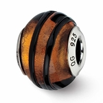 Reflection Simstars Orange/Black Stripes Italian Murano Bead