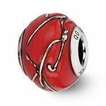 Reflection Simstars Red/Silver Striped Italian Murano Bead