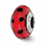 Reflection Simstars Red w/Black Dots Italian Murano Bead
