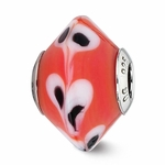 Reflection Simstars Red w/ Dots Italian Murano Glass Bead