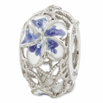 Reflections SimStars Blue and White Enameled Flowers  Bead
