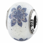 Reflections SimStars Blue Flower Italian Glass Bead