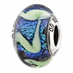Reflections SimStars Blue Green Swirls Glass Bead