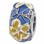 Reflections SimStars Blue Yellow White Enamel Flowers Bead