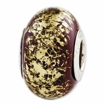 Reflections SimStars Brown Gold Foil Ceramic Bead