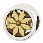 Reflections SimStars Gold Plated Silver Round Flowers Bead