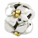 Reflections SimStars Gold Silver Polished Flowers Bead
