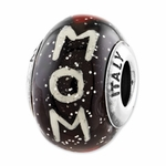 Reflections SimStars Mom Hearts Black Italian Glass Bead