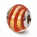 Reflections SimStars OrangeGold Stripes Italian Murano Glass Bead