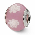 Reflections SimStars Pink White Flowers Italian Murano Glass Bead