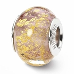 Reflections SimStars Pink with Gold Flecks Italian Murano Glass Bead