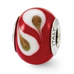 Reflections SimStars Red Brown White Italian Murano Glass Bead