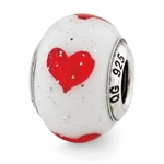 Reflections SimStars Red Hearts Italian Murano Glass Bead