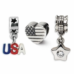Reflections SimStars Silver American Pride Boxed Bead Set