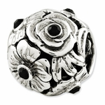 Reflections SimStars Silver Black Swarovski Elements Flower Bead