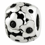 Reflections SimStars Silver Black Swarovski Elements Flowers Bead