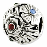 Reflections SimStars Silver Blue Red Swarovski Elements Flower Bead