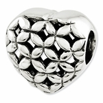 Reflections SimStars Silver Lots of Flowers Heart Bead