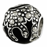 Reflections SimStars Silver Marcasite & Black Enameled Bead