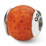 Reflections SimStars Silver Orange Coral Natural Stone Bead