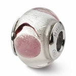 Reflections SimStars Silver Pink Circles Italian Murano Glass Bead