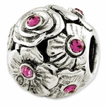 Reflections SimStars Silver Pink Swarovski Elements Flower Bead