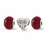 Reflections SimStars Silver Red Hot Momma Box Bead Set