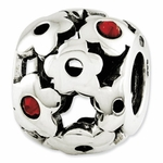 Reflections SimStars Silver Red Swarovski Elements Flowers Bead
