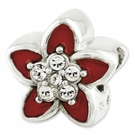 Reflections SimStars Silver Swarovski Elements Red Enamel Flower Bead