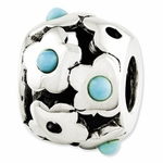 Reflections SimStars Silver Turquoise Flowers Bead