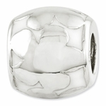 Reflections SimStars Silver White Enamel Oval Flowers Bead