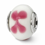 Reflections SimStars White Pink Flowers Italian Murano Glass Bead