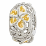 Reflections SimStars Yellow and White Enameled Flowers  Bead