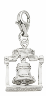 Rembrandt Silver 3-D Movable Liberty Bell  Lobster Claw Charm