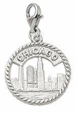 Rembrandt Silver Chicago Skyline Lobster Claw Charm