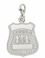 Rembrandt Silver Engravable Police Badge Lobster Claw Charm